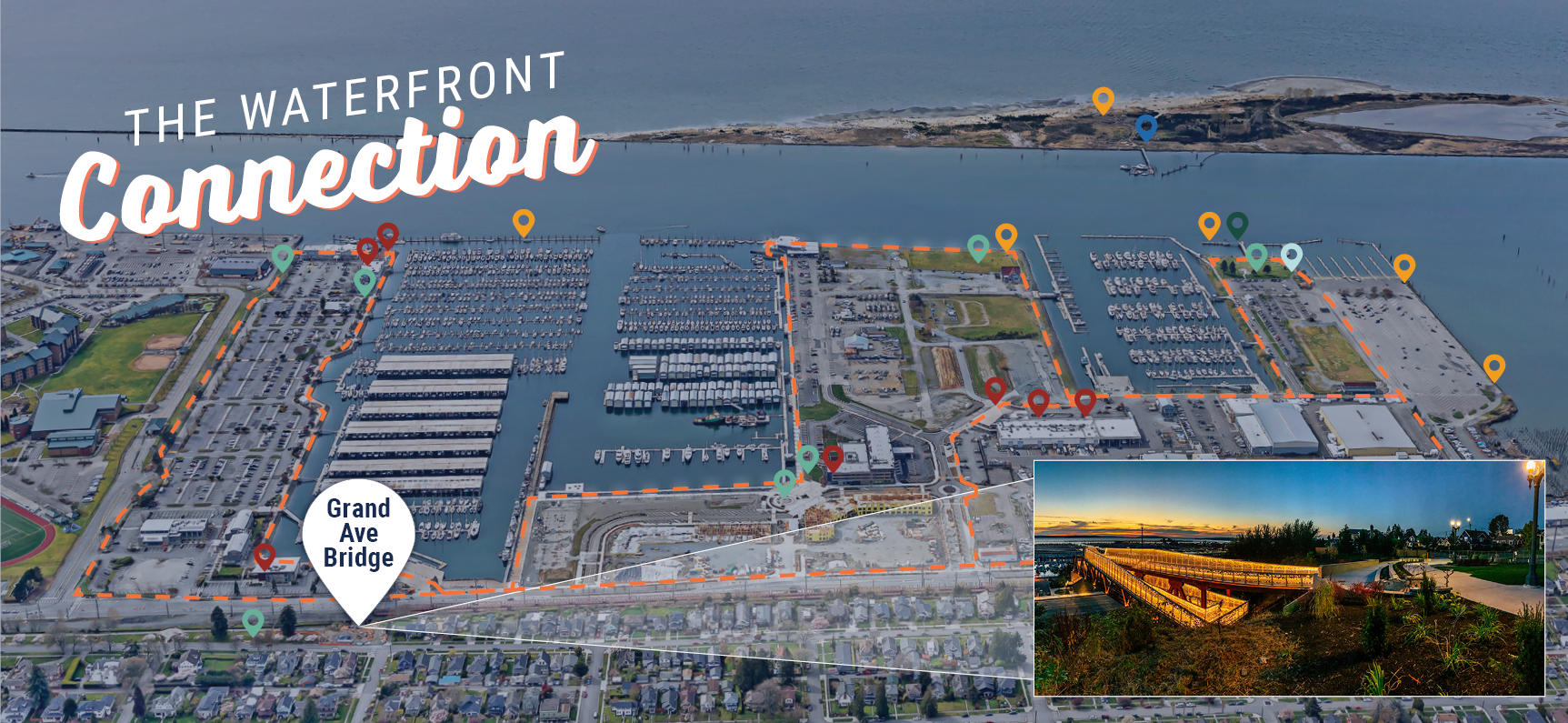 Port of Everett Map showing waterfront attractions: hiking trails, fishing, kayaking, dining, bridge